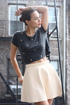 beige cream leather American Apparel skirt