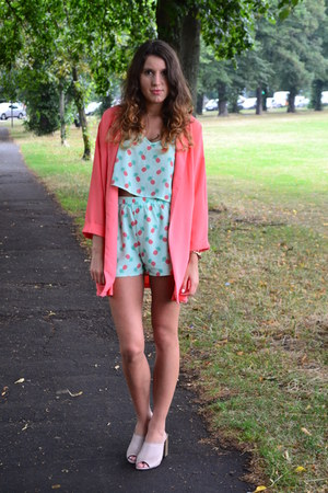 Missguided jacket - Missguided shorts - Missguided top - Topshop heels