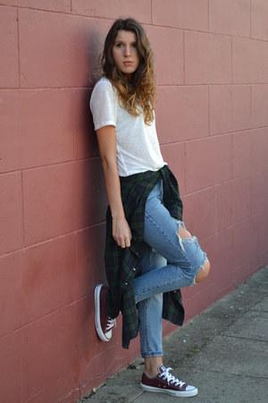 Topshop t-shirt - Boohoo jeans - bank shirt - Converse sneakers