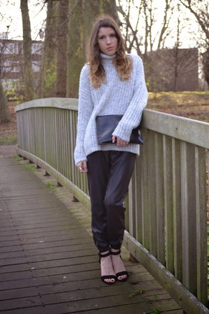 silver Zara jumper - black whistles bag - black Topshop pants