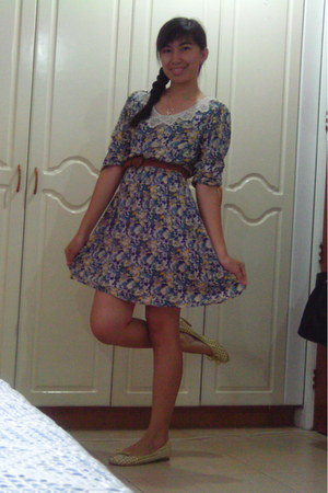 dress - braided belt - with bow flats