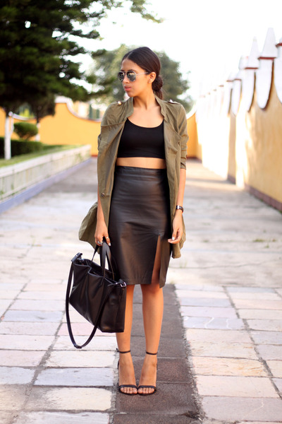 black leather vintage skirt - olive green PERSUNMALL jacket