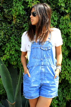 blue denim Gap romper - white Zara t-shirt