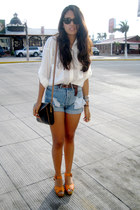 white Zara shirt - black vintage bag - blue Oysho shorts