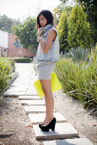 sky blue Zara vest - yellow laptop case Bershka bag - black local brand pumps