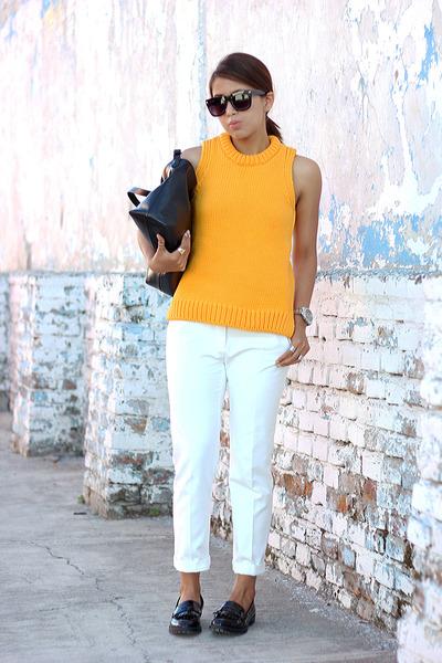 orange knit Zara sweater - black Zara bag - white Zara pants
