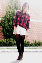 ruby red vintage shirt - heather gray Zara shorts - dark brown boots