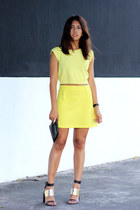 yellow cropped OASAP top - black Forever 21 bag - dark gray Zara sandals