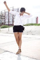 black Express shorts - white Gap shirt - brown leopard print Zara sandals