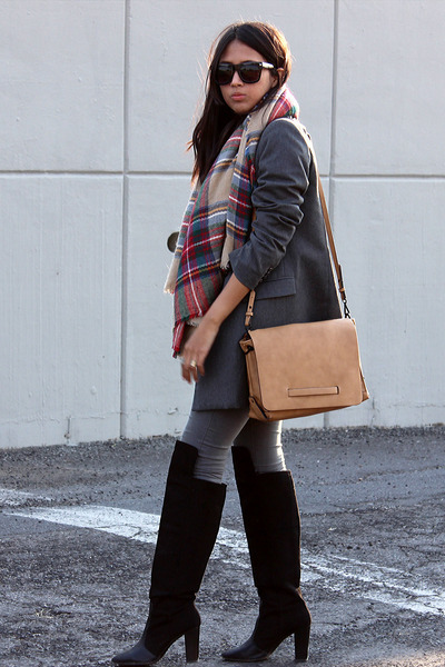 black Zara boots - charcoal gray Mango jacket - camel plaid scarf