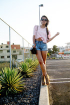 tan Jeffrey Campbell shoes - Oysho shorts - bubble gum vintage blouse