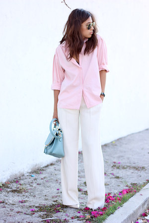 bubble gum thrifted shirt - sky blue OASAP bag - white Zara pants