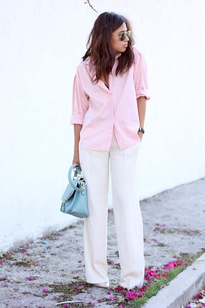 bubble gum thrifted shirt - sky blue OASAP bag - white Zara pants