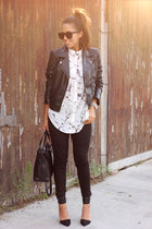 white marble print shirt - black H&M jacket - black Zara bag - black Zara pants