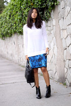 blue brush effect Zara skirt - black Zara boots