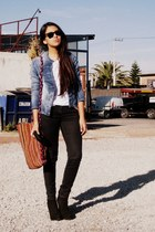 black Zara boots - denim jacket Bershka jacket - black Zara pants