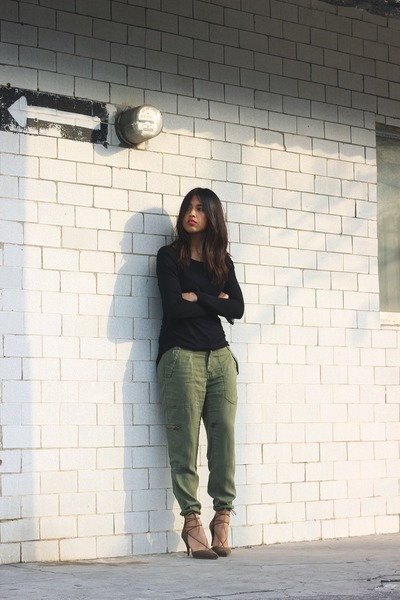 black Zara sweater - army green Zara pants - dark khaki Zara heels