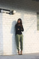 black Zara sweater - army green Zara pants - dark khaki Zara heels