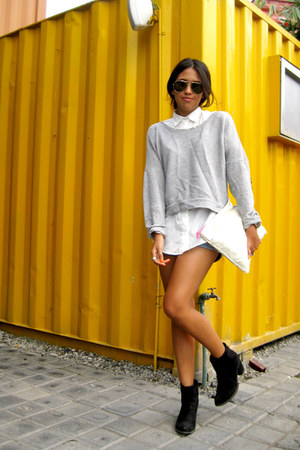 black Zara boots - silver Bershka sweater - Oysho shorts - white Zara blouse