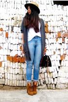 tawny pull&bear boots - calvin klein jeans - brown Zara hat - white Zara t-shirt