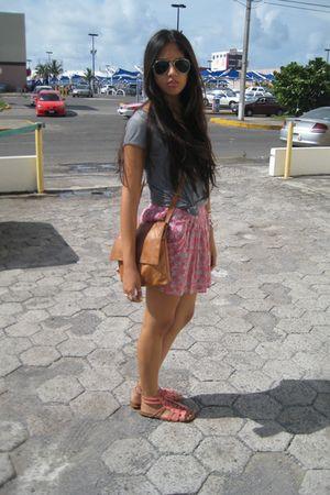silver Zara blouse - pink Bershka shoes - beige vintage bag - pink Zara skirt