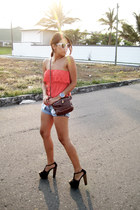 brown pull&bear bag - Oysho shorts - white Womensecret sunglasses - carrot orang