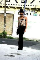 yellow Zara blouse - black vintage purse - brown random brand glasses