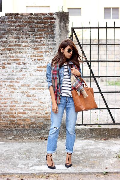 red plaid Zara scarf - sky blue boyfriend Aeropostale jeans