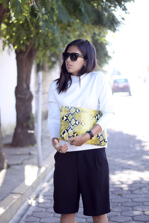 black Zara pants - yellow snakeskin pull&bear bag - white neoprene Zara blouse