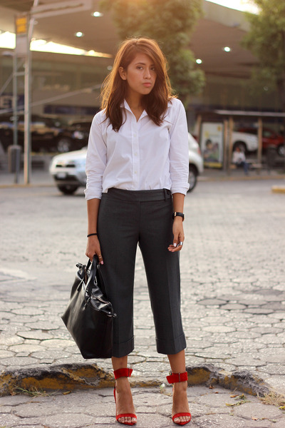 black Zara bag - white Gap shirt - red Zara heels