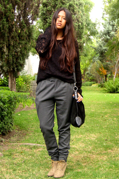 charcoal gray Zara pants - beige LOB shoes - black vintage blouse