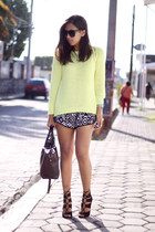 white tribal Makun shorts - yellow Zara sweatshirt - black Zara heels