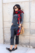 red plaid Zara scarf - camel Zara bag - black Zara loafers - black Lulus romper