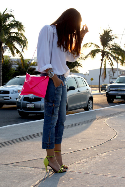 yellow Zara sandals - navy DKNY jeans - hot pink Zara purse