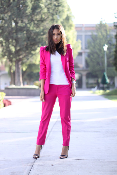 hot pink Zara blazer - hot pink Zara pants - black Zara heels