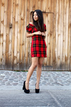 plaid DIY dress - black platforms heels