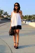 white ombre DIY t-shirt - black Local shop heels