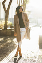 navy Zara sweater - camel H&M coat - white Zara pants