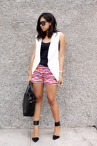 black Zara bag - hot pink ethnic print tailored shorts - black Zara heels
