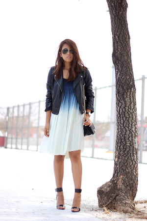 white ombre Lulus dress - black H&M jacket - black PERSUNMALL bag