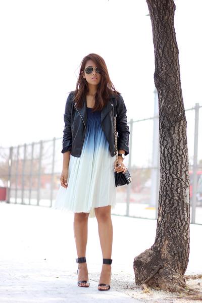 white ombre Lulus dress - black H&M jacket - black PERSUNMALL bag