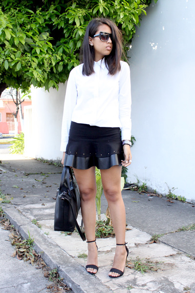 black Pull & Bear skirt - white Gap shirt - black Zara heels