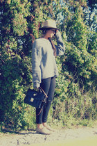 black vintage bag - tan Carlos rossetti shoes - brown Zara hat