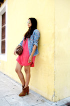 bronze pull&bear boots - red Zara dress - denim Zara shirt