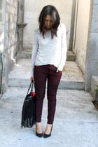 maroon burgundy pull&bear pants - white striped Zara t-shirt