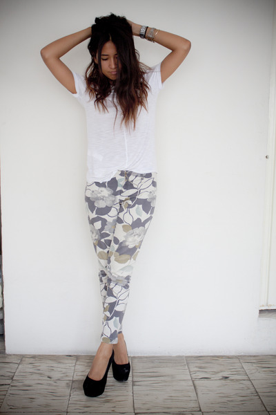 black and white floral pants - Pi Pants