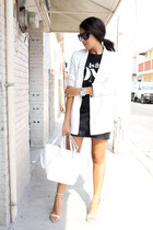 black Pull &Bear t-shirt - white Pull & Bear blazer - white Zara bag