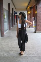 black vintage pants - black Bershka shoes - black Zara hat - brown Zara belt