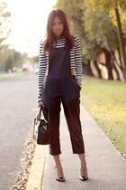 black PERSUNMALL bag - black overalls Lulus romper - black Zara pumps