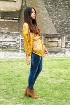 pull&bear boots - Bershka jeans - floral print DIY jacket